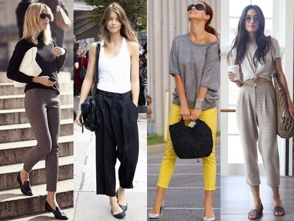 what shoes to wear with cropped pants. We recommend statement oxford, sling  backs and