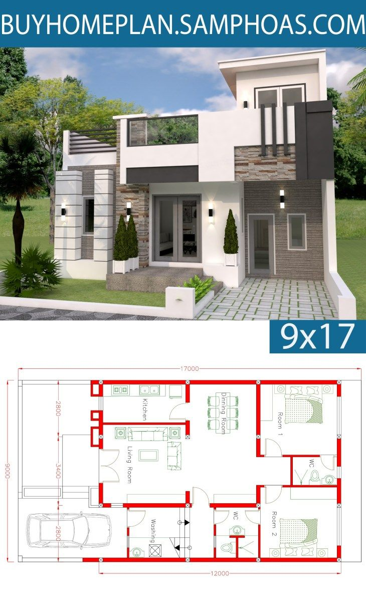 Home Design Plan 9x12m With 2 Bedrooms Samphoas Com Home Design Plan Dream House Modern House Design
