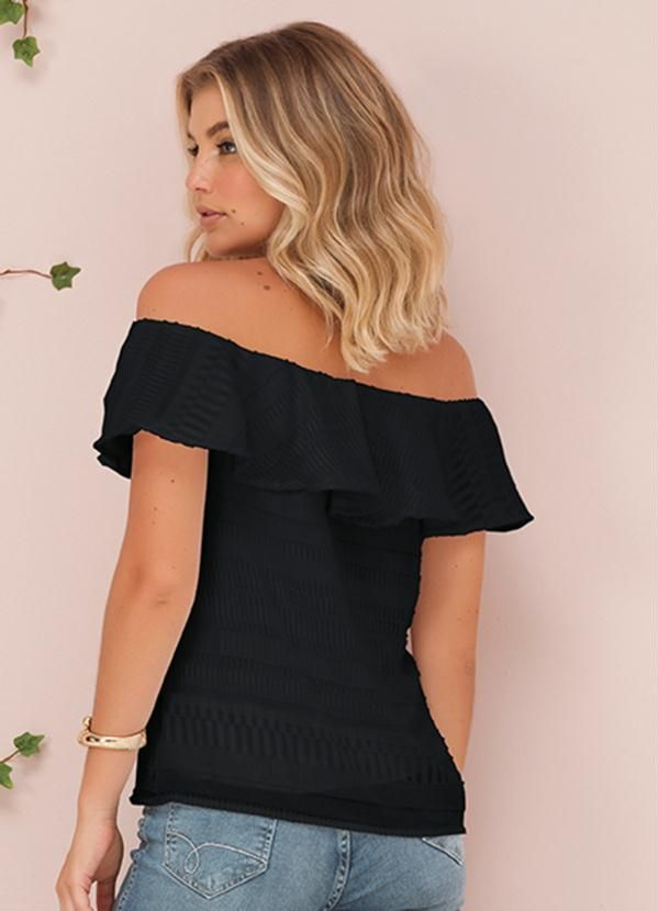 0c439d562 Blusa Ombro a Ombro Preto Doce Trama em 2019 | Products | Blusas ...