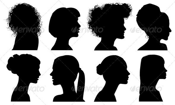 Face Woman Profile Vector Silhouette Silhouettes People Characters Isolated Illustratio Woman Face Silhouette Female Profile Man And Woman Silhouette