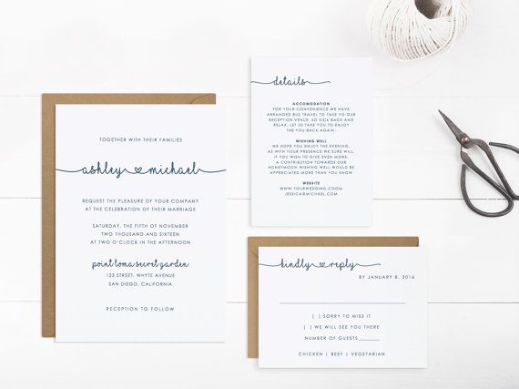 Wedding Invitation Template, Printable Wedding Invitation Suite ...