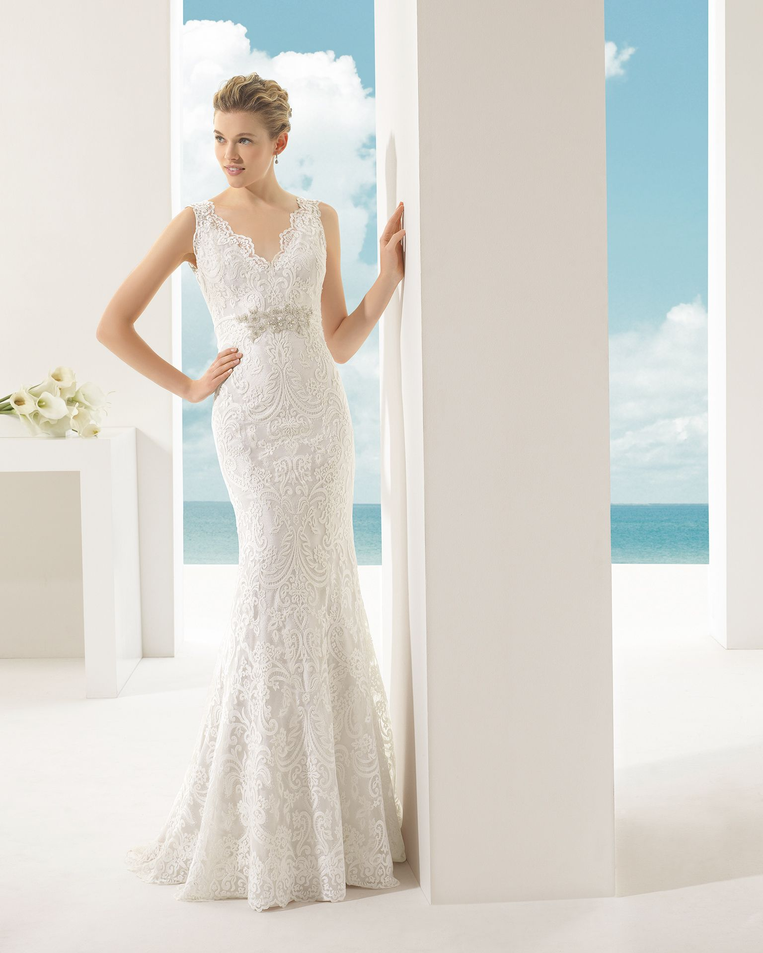 Lace bridal gown rosa clará soft collection what a