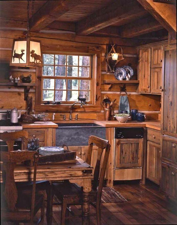 La cuisine en bois massif en beaucoup de photos! Log cabins, Cabin