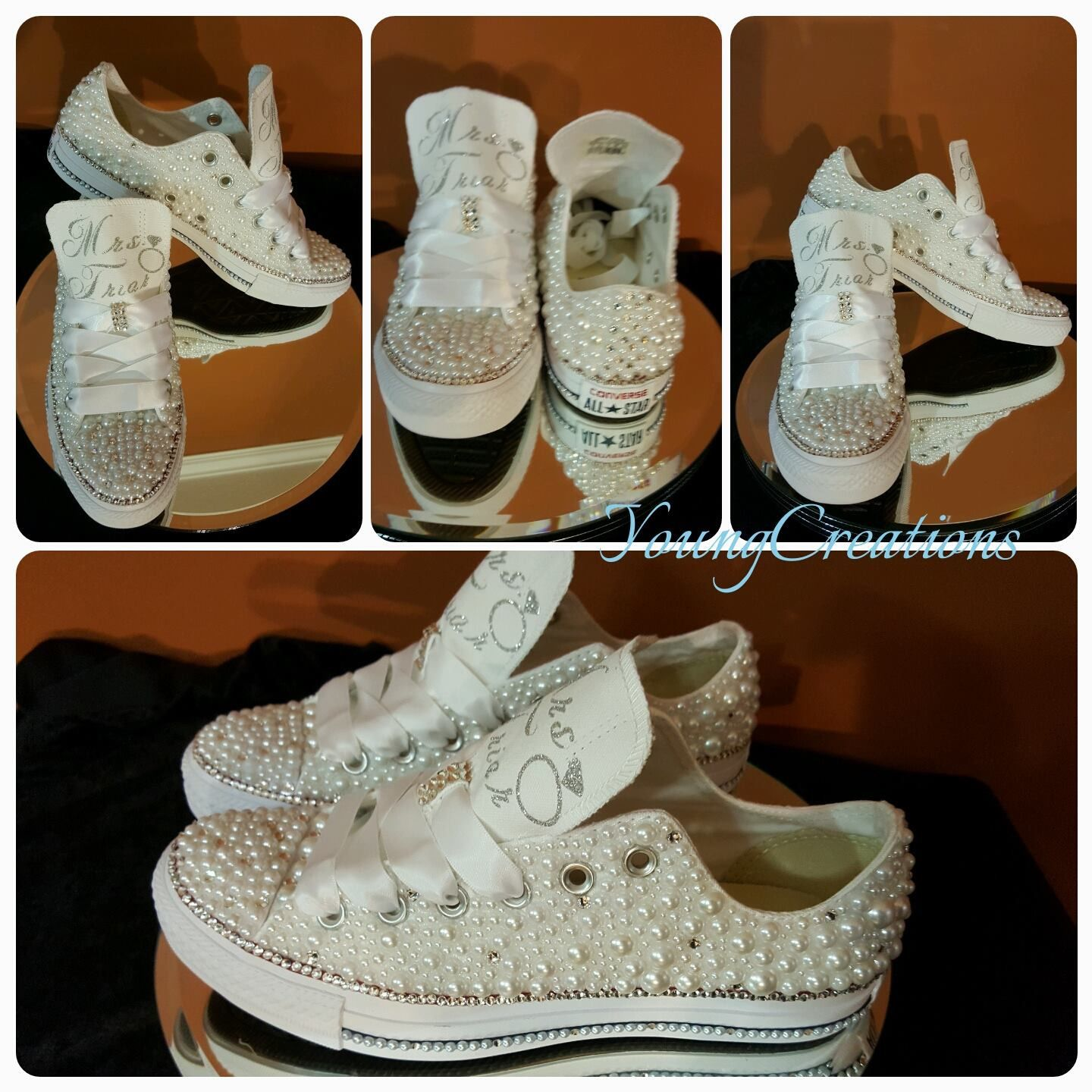 Custom bling pearl converse for the bride 229e389ce0