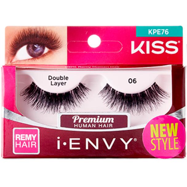 Kiss I Envy Premium Human Remy Hair Eyelashes 1 Pair Pack Double
