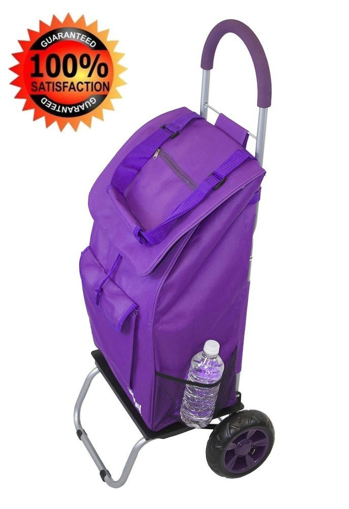 6c2e11e26467 Grocery Cart With Wheels Folding Seniors Trolley Purple Shopping ...