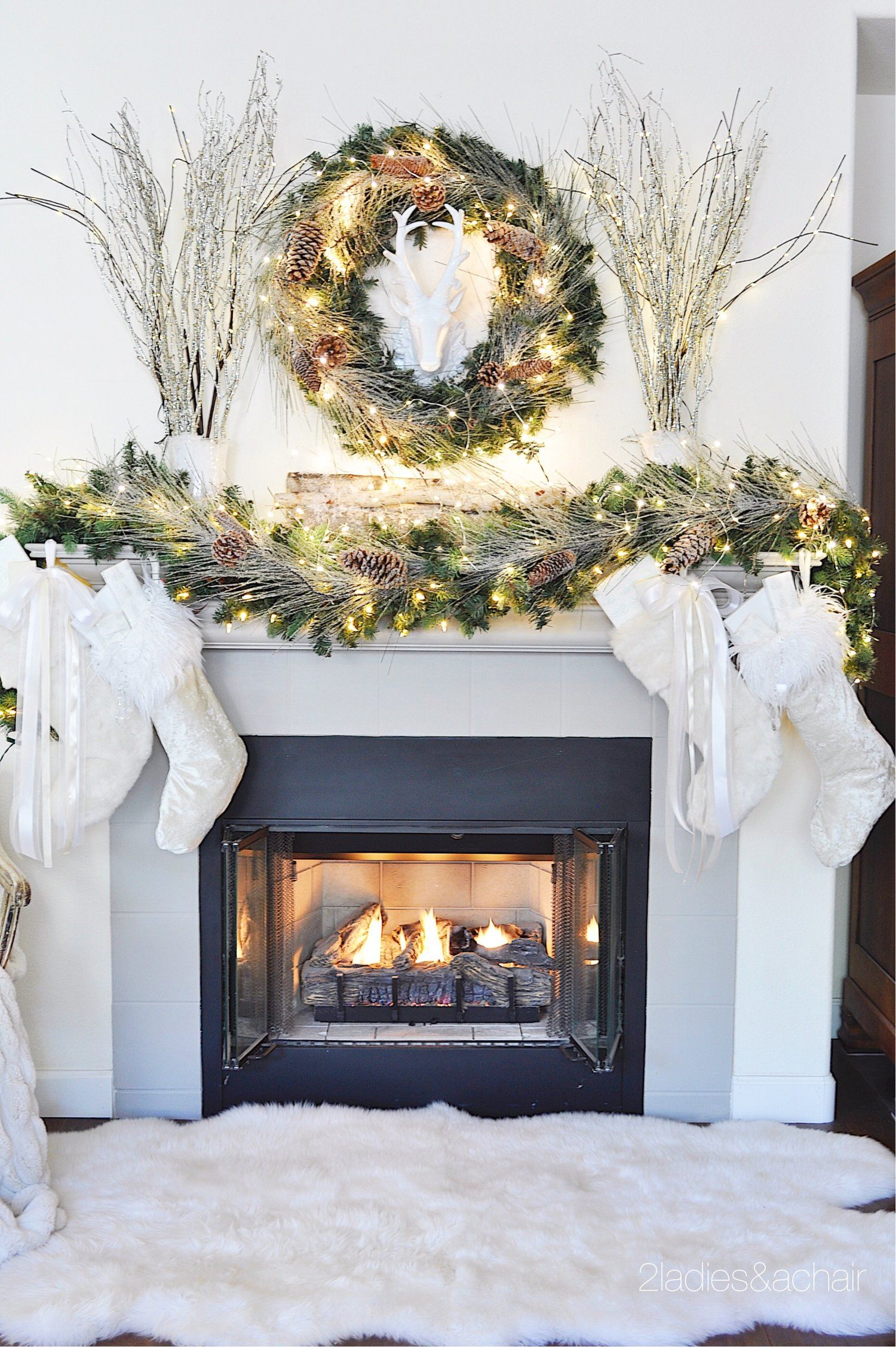 Christmas Home Decorating Ideas For A Beautiful Holiday 2 Ladies A Chair Christmas Fireplace Decor Holiday Fireplace Christmas Mantel Decorations