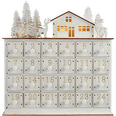 32cm pre-lit wooden house #scene advent calendar #christmas #decoration, white,  View more on the LINK: http://www.zeppy.io/product/gb/2/401177802357/