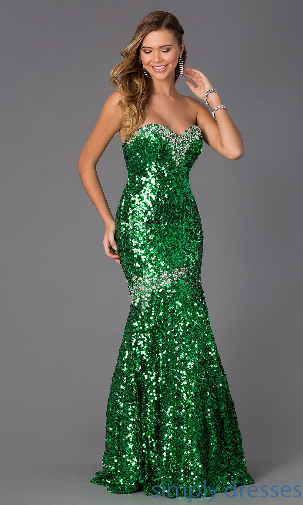Green Strapless Sequin Mermaid Gown Beautiful Prom Dresses Sparkly Dress Prom Dresses [ 1666 x 1000 Pixel ]