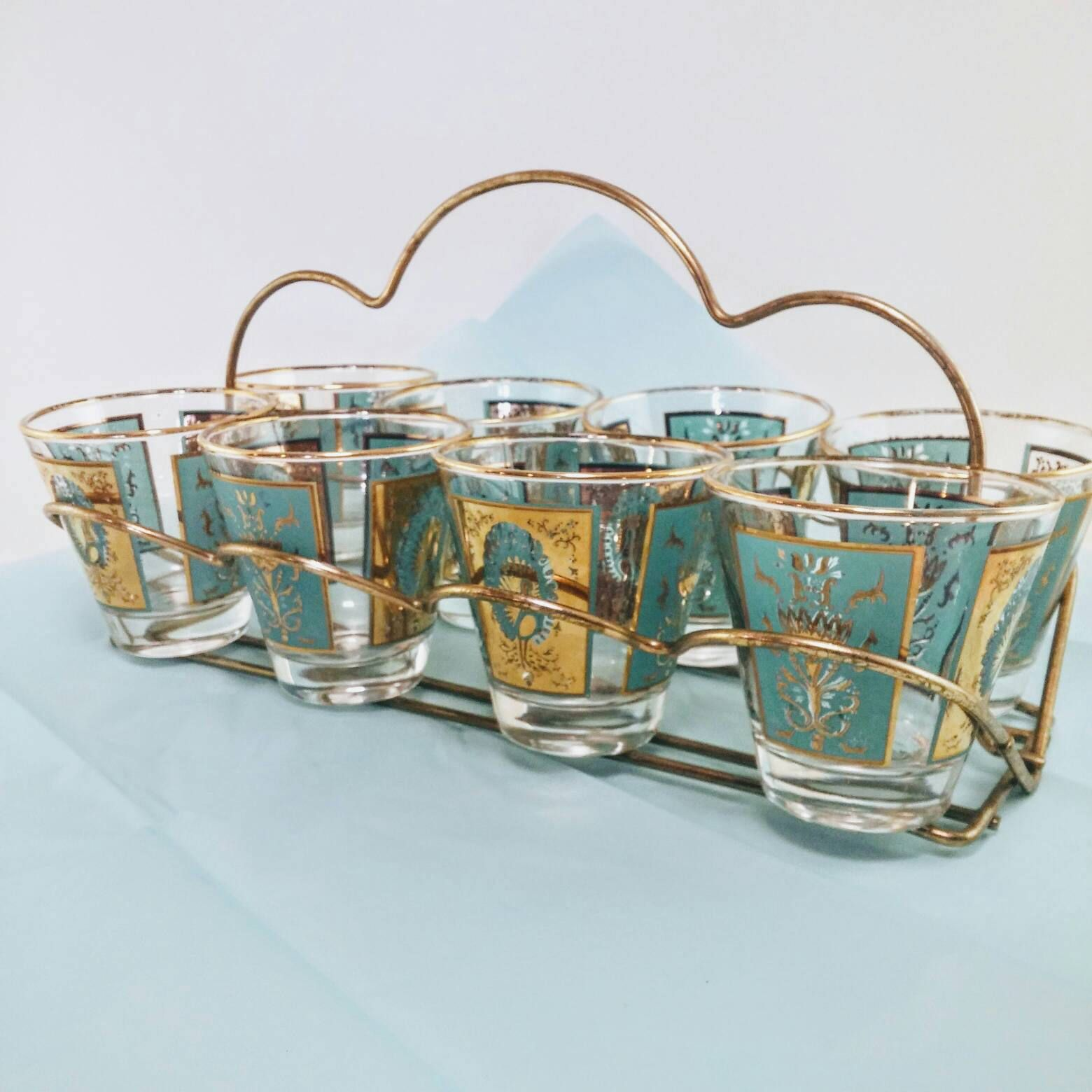 Vintage Peacock Rocks Glasses With Caddy | Turquoise And Gold Barware, Set  Of 8+