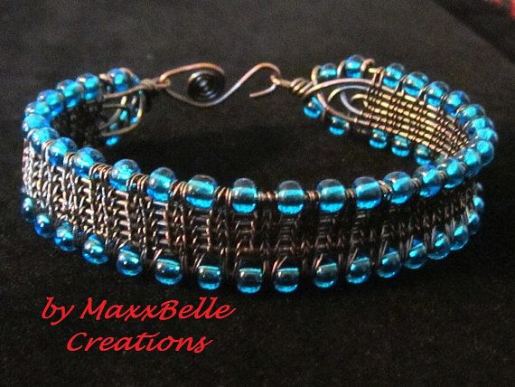 Copper Wire Weave Bracelet Antiqued by MaxxBelleCreations on Etsy