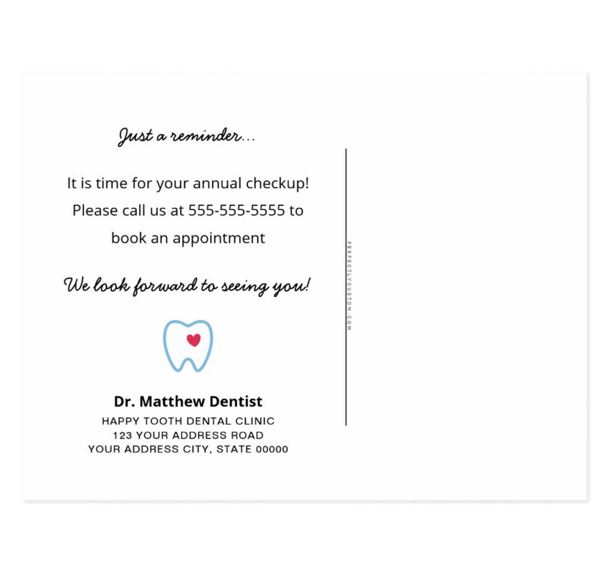 Dentist Appointment Reminder Tooth With Heart Blue Postcard Zazzle Com Dentist Dentist Appointment Reminder