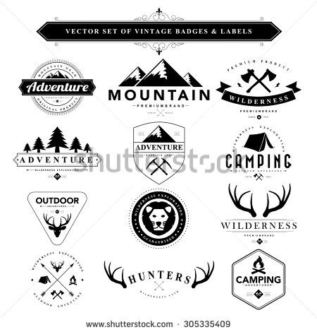 Set of vintage camping badges and labels | Stockphoto, Icons