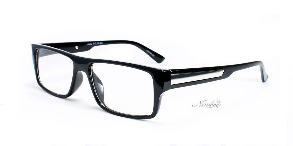 70e36afb0f5 Mens Gloss Black Clear Lens Glasses Retro Urban Hip Hop Style Non  Prescription  Rectangular