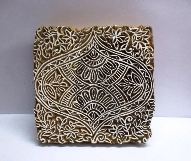Textile Stamp Indian Wooden Block Stamp Antique Vintage Hand Carved Wood Print FINE DESIGN PRINT