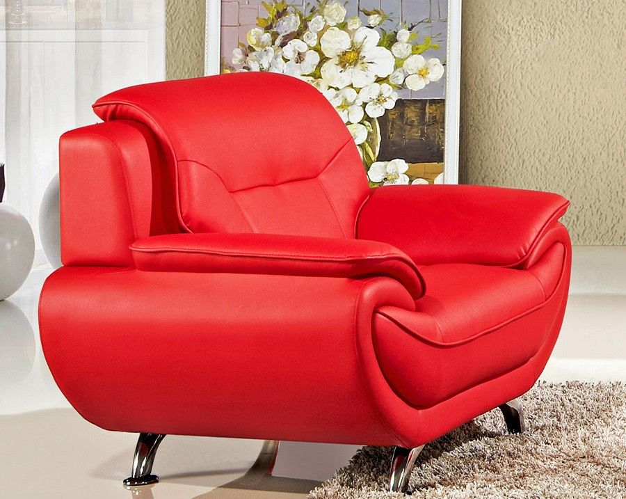 Sabina Red Leather Sofa Set