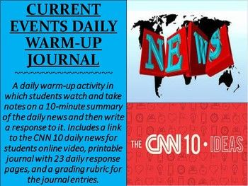 Current Events Daily Warm Up Journal 6th Grade Social Studies