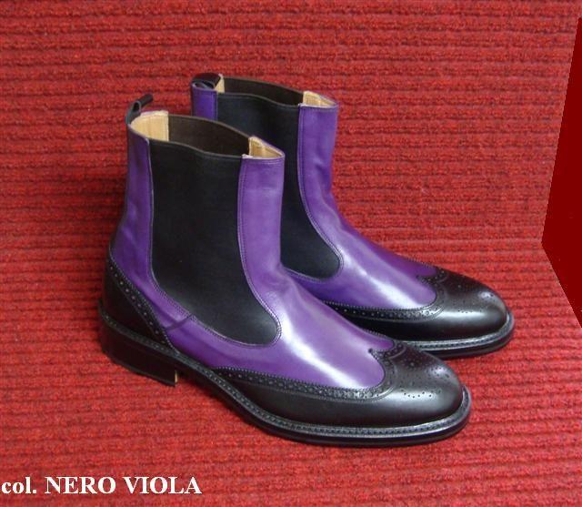 BENNETT  #polacchino feshion stile inglese  confezionate con pellame in vitello bicolore  nero- viola