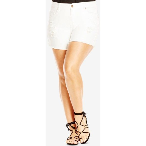 f98357709e City Chic Plus Size White Wash Ripped Denim Shorts ($59) ❤ liked on  Polyvore featuring shorts, white, white distressed shorts, plus size white  shorts, ...