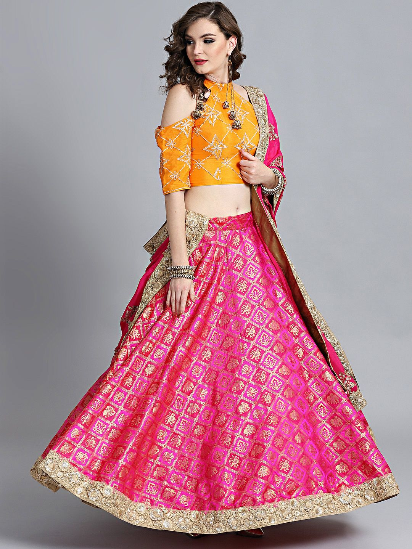 1e5114d6f Bollywood Vogue Orange   Pink Made To Measure Embroidered Lehenga   Blouse  With Dupatta  Lehenga  Orange  Pink  Wedding