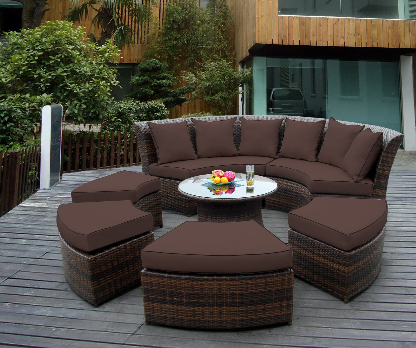 Ohana Outdoor Patio Wicker Furniture 7pc Couch Set   Brown