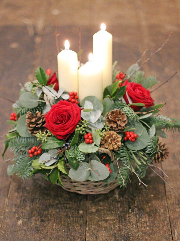 Candle Fresh Flower Basket Arrangement Rich Reds Christmas Flower Arrangements Christmas Flower Decorations Christmas Flowers