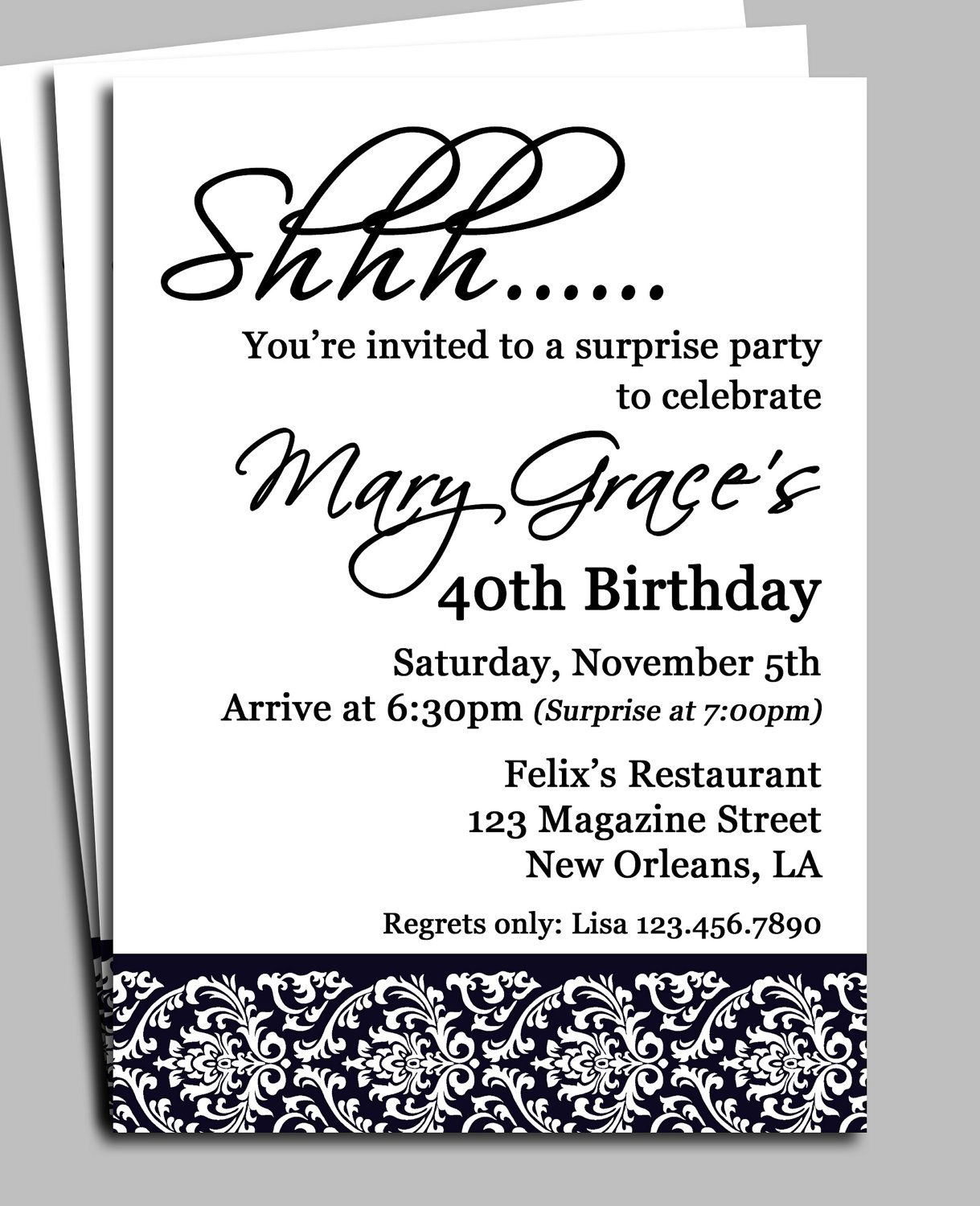 Black Damask Surprise Party Invitation Printable by ThatPartyChick ...