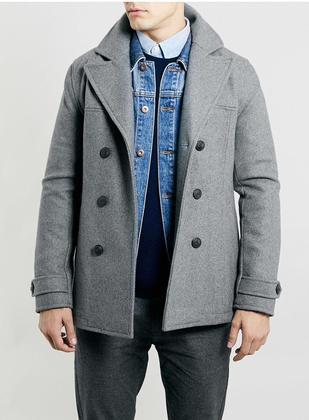 GREY WOOL blend SLIM PEACOAT | Grey, Wool and Peacoats