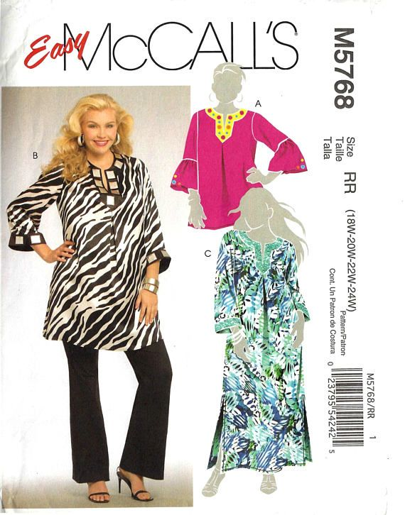 McCalls M5768 Sewing Pattern Tunics in Two Lengths and Caftan sz 18W ...