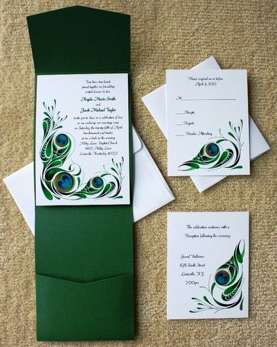 100 Personalized Custom Pocket Peacock Bridal Wedding Invitations Set