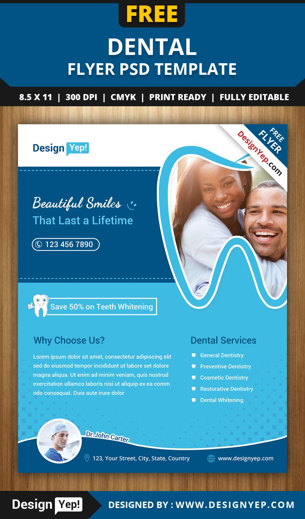 Free-Dental-Flyer-PSD-Template-1414-Designyep | Free Flyers ...