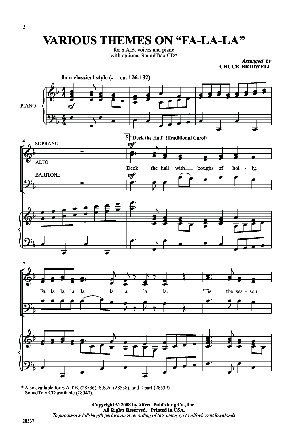 Various Themes On Fa La La Sab Arr Chuck School Choir Songs Choir Songs Choral Sheet Music
