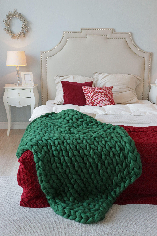 Chunky knit blanket green knit blanket green chunky