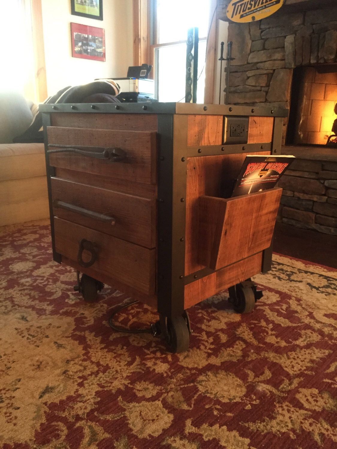 Industrial End Table For Man Cave Or Living Room  Custom Made From Wormy  Chestnut Wood, Riveted Metal And Reclaimed Items. By TitusvilleIronWorks On  Etsy ...