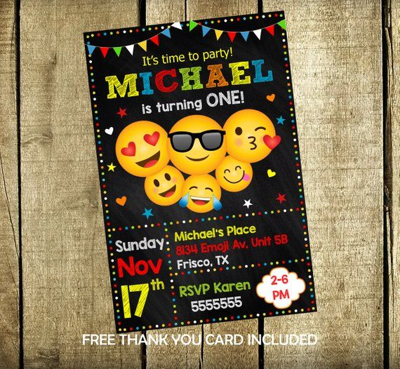 Emoji Party Invitation Birthday Emojis Printable Card