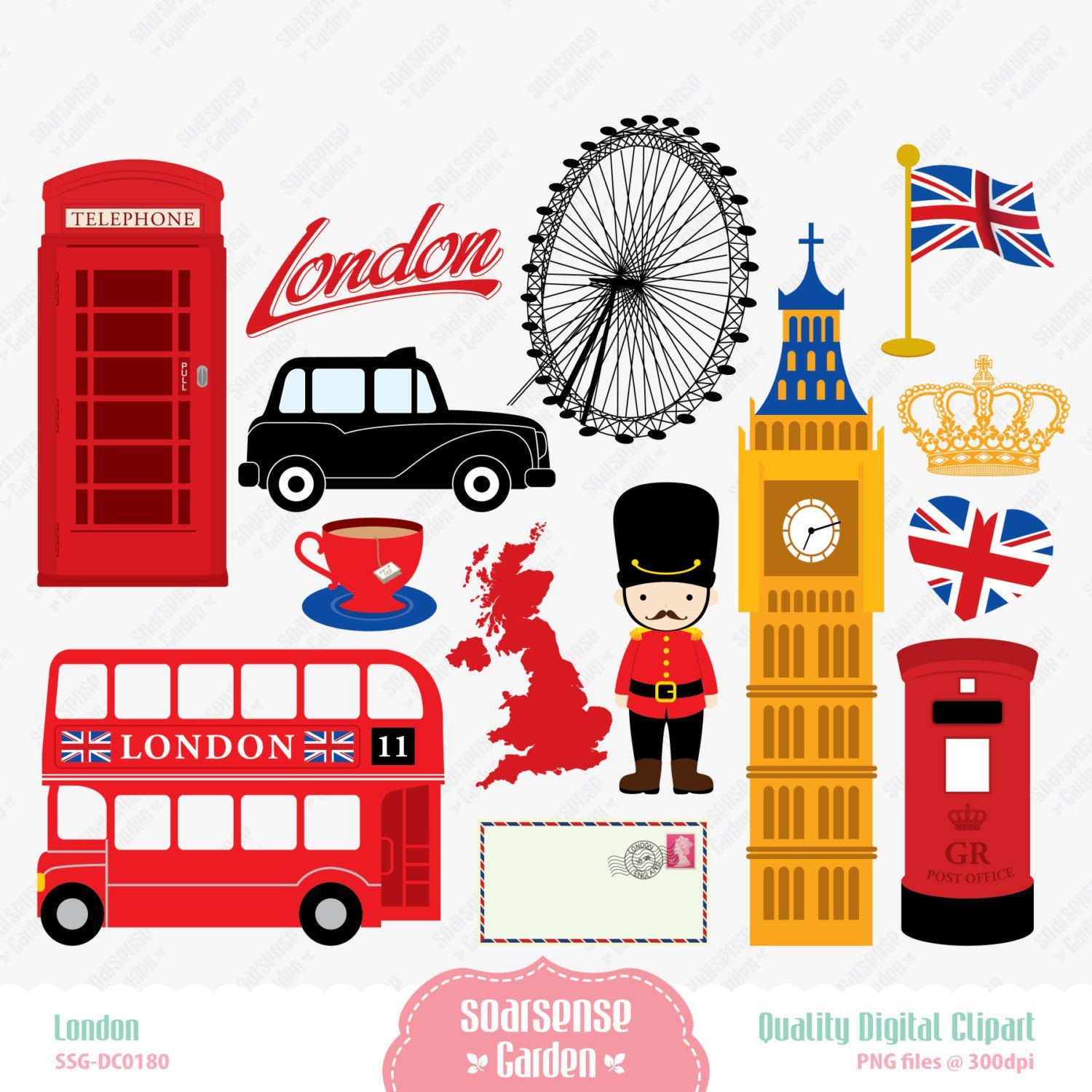 Scrapbook paper england theme - London Digital Clipart England Clipart By Ssgarden On Etsy