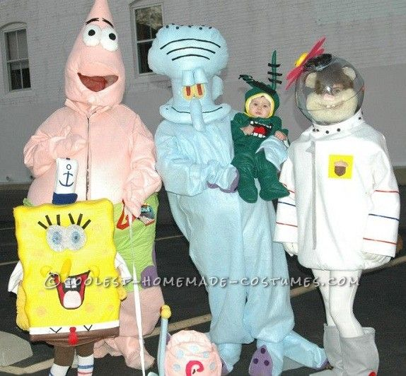 coolest homemade spongebob and the gang group costume