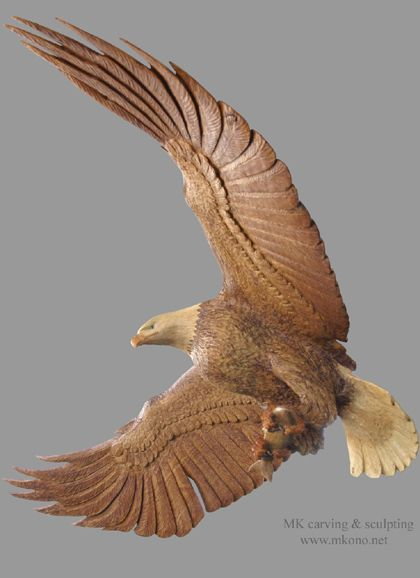 """Title: Eagles family  Material: Yellow cedar, Red cedar  * Glass eyes and hardwood claws  * Nest will be mounted on a structural stair post.  * Flying eagle will be hanged from the ceiling with 3 cables.  Size of nest: WxHxD: 48"""" x 40"""" x 48"""" (120cm x 100cm x 120cm)  Wing span: 6' ( 1.8m)"""