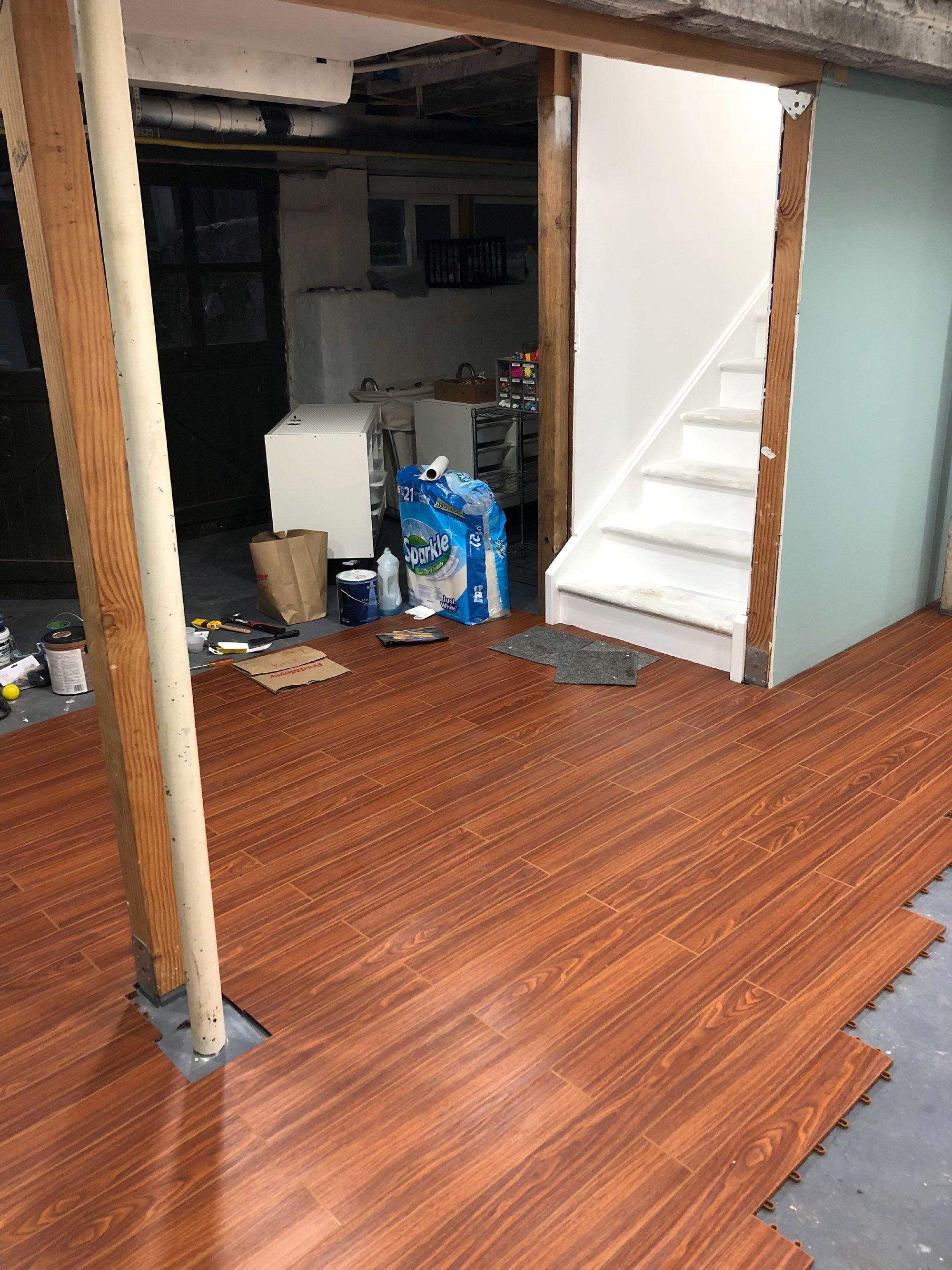 Plankflex Vinyl Wood Grain Plank Flooring Tiles Modular Floors Basement Remodeling Floating Floor Basement Layout