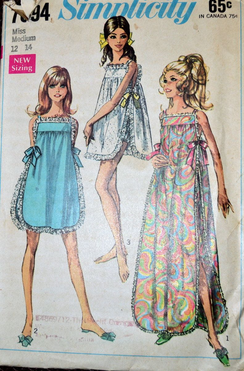 Vintage 1960's  Sewing Pattern Simplicity 7694 Misses' Night Gowns with Panties Bust 34-36 inches Complete by GoofingOffSewing on Etsy $7.50