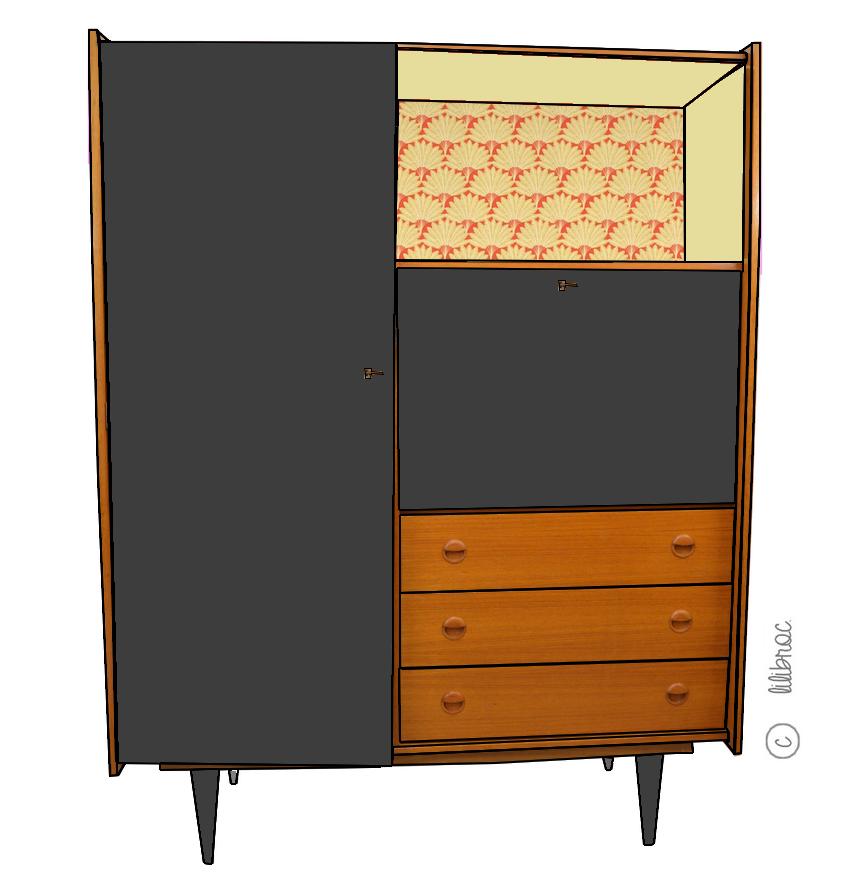 Une nouvelle armoire secr taire vintage voici achille dans une chambre dans une entr e ou - Un armoire ou une armoire ...