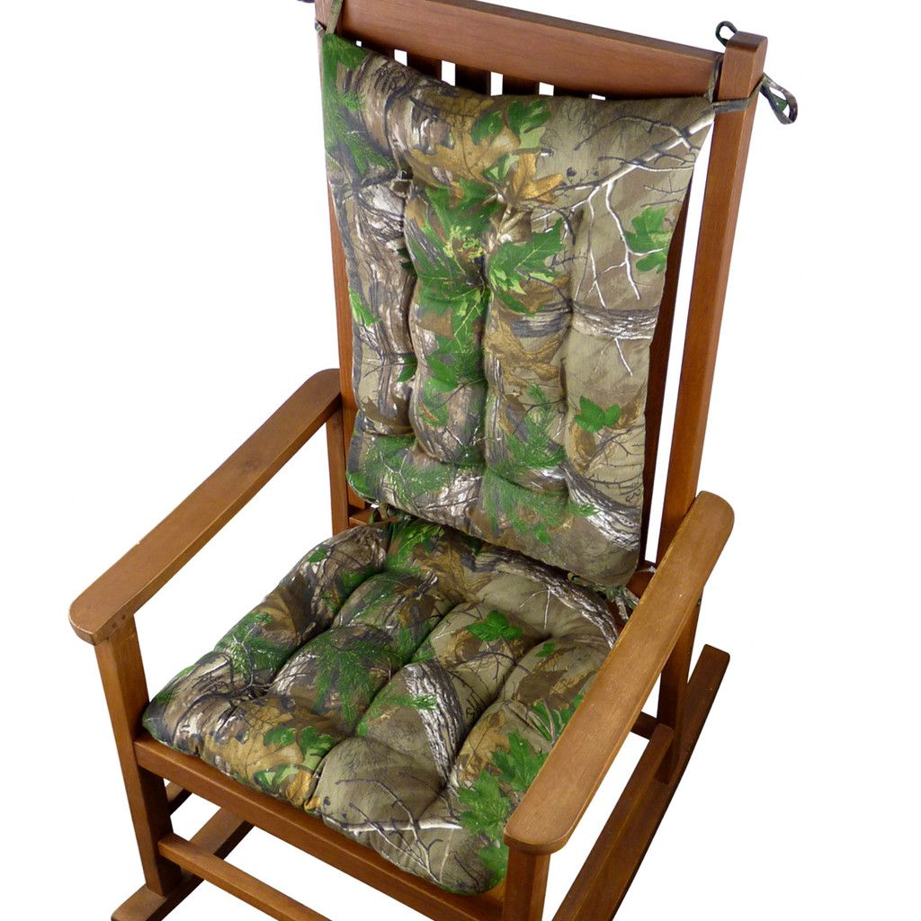 Realtree Xtra Green (R) Camo Rocking Chair Cushions   Latex Foam Fill    Reversible, Tufted