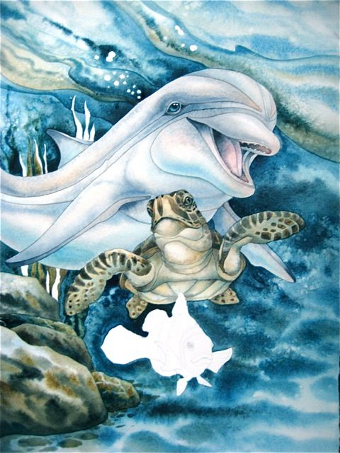 Turtle And Dolphin Pictures Sea Art Dolphin Art Painting