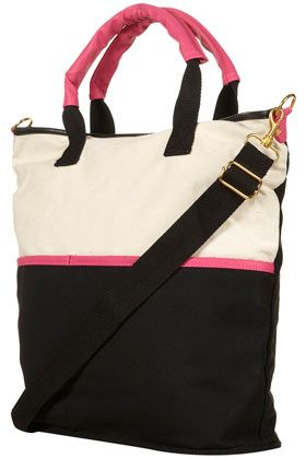 Pink canvas shopper shape bag with printed lining and zip top ...