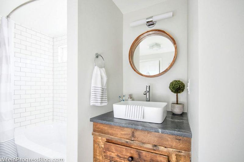 Paint Colors Paper White By Benjamin Moore Bathroom Wall Colors Modern Farmhouse Bathroom Farmhouse Bathroom