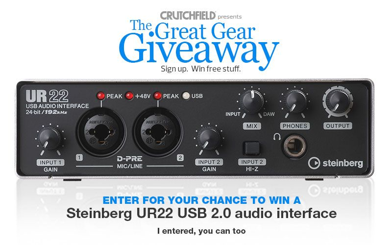 I just entered the @Crutchfield Sweeps for a Steinberg UR22 audio interface. You can too – #GGGEntry #win