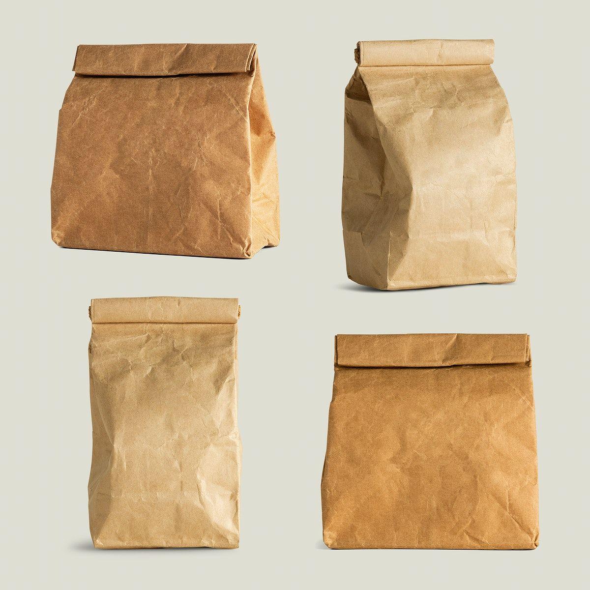Download Download Premium Illustration Of Rolled Brown Paper Bag Mockup Set 2389281 Print On Paper Bags Brown Paper Bag Brown Paper Packages