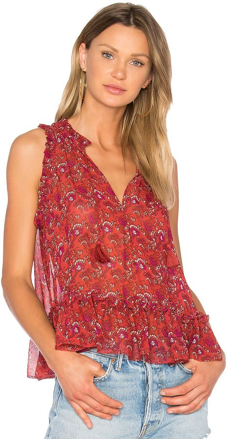 Ulla Johnson Cecile Blouse / red summer top