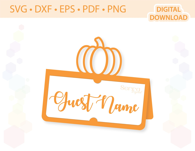 Pumpkin Place Card Template Svg Dxf Eps Pdf Png Etsy Place Card Template Thanksgiving Place Cards Place Cards
