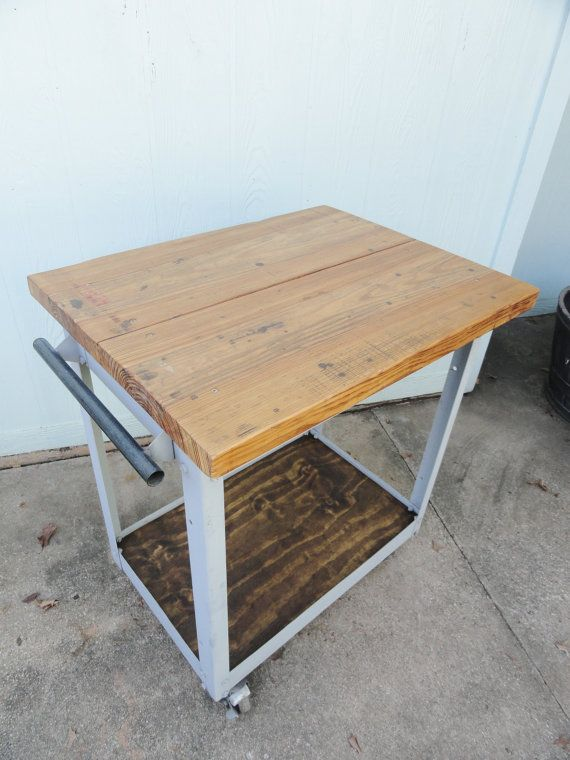Kitchen Island Reclaimed Table Rolling Metal With Casters Industrial - Etsy kitchen island